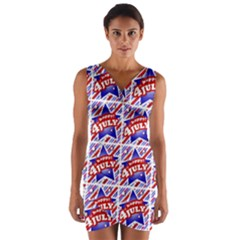 Happy 4th Of July Theme Pattern Wrap Front Bodycon Dress