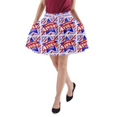 Happy 4th Of July Theme Pattern A-Line Pocket Skirt