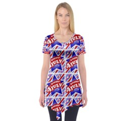 Happy 4th Of July Theme Pattern Short Sleeve Tunic