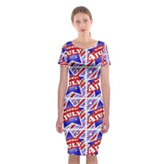 Happy 4th Of July Theme Pattern Classic Short Sleeve Midi Dress