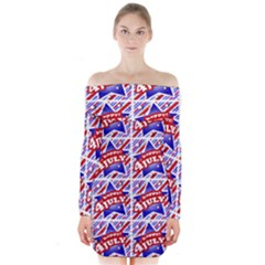 Happy 4th Of July Theme Pattern Long Sleeve Off Shoulder Dress