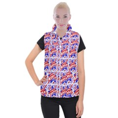 Happy 4th Of July Theme Pattern Women s Button Up Puffer Vest