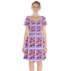 Happy 4th Of July Theme Pattern Short Sleeve Bardot Dress
