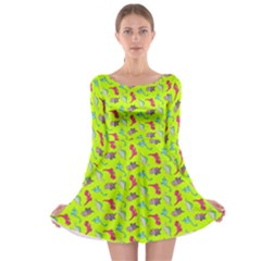 Dinosaurs pattern Long Sleeve Skater Dress