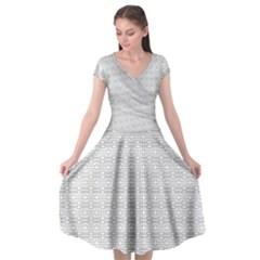 Pattern Cap Sleeve Wrap Front Dress