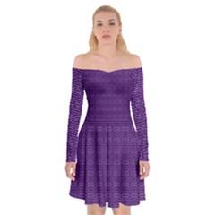 Pattern Off Shoulder Skater Dress