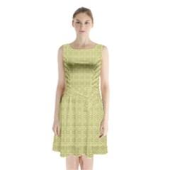 Pattern Sleeveless Waist Tie Chiffon Dress