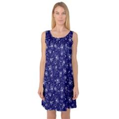 Floral Pattern Sleeveless Satin Nightdress