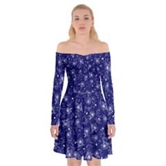 Floral Pattern Off Shoulder Skater Dress
