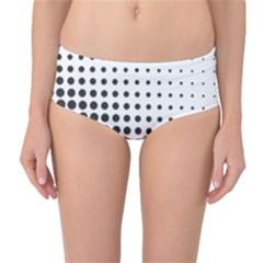 Comic Dots Polka Black White Mid-Waist Bikini Bottoms
