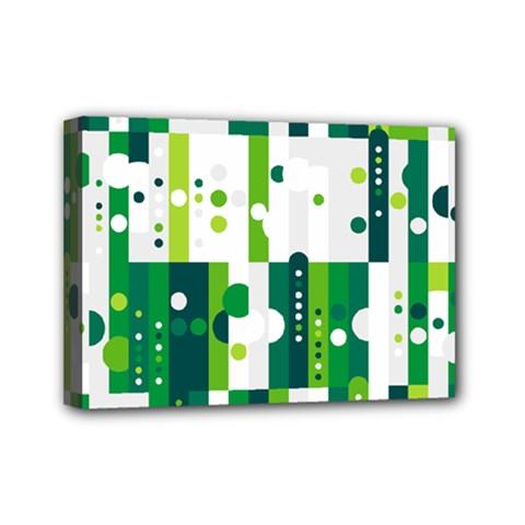 Generative Art Experiment Rectangular Circular Shapes Polka Green Vertical Mini Canvas 7  X 5