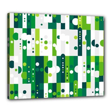 Generative Art Experiment Rectangular Circular Shapes Polka Green Vertical Canvas 24  x 20