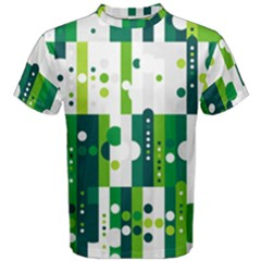 Generative Art Experiment Rectangular Circular Shapes Polka Green Vertical Men s Cotton Tee