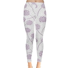 Purple Tulip Flower Floral Polkadot Polka Spot Leggings