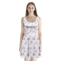Purple Tulip Flower Floral Polkadot Polka Spot Split Back Mini Dress