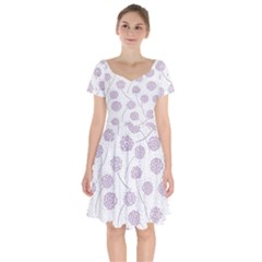 Purple Tulip Flower Floral Polkadot Polka Spot Short Sleeve Bardot Dress