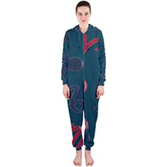Zodiac Signs Planets Blue Red Space Hooded Jumpsuit (Ladies)