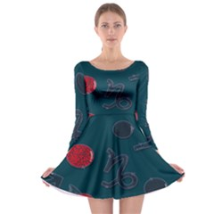 Zodiac Signs Planets Blue Red Space Long Sleeve Skater Dress