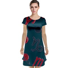 Zodiac Signs Planets Blue Red Space Cap Sleeve Nightdress