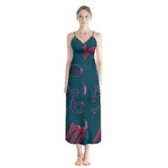 Zodiac Signs Planets Blue Red Space Button Up Chiffon Maxi Dress