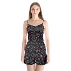 Floral Pattern Satin Pajamas Set