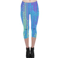Vertical Behance Line Polka Dot Blue Green Purple Capri Leggings