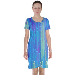 Vertical Behance Line Polka Dot Blue Green Purple Short Sleeve Nightdress