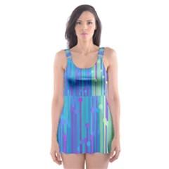 Vertical Behance Line Polka Dot Blue Green Purple Skater Dress Swimsuit