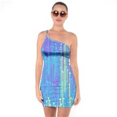 Vertical Behance Line Polka Dot Blue Green Purple One Soulder Bodycon Dress