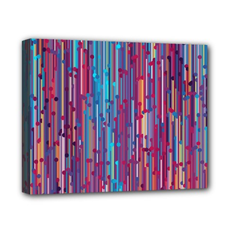 Vertical Behance Line Polka Dot Blue Green Purple Red Blue Black Canvas 10  x 8
