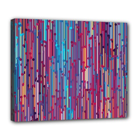 Vertical Behance Line Polka Dot Blue Green Purple Red Blue Black Deluxe Canvas 24  x 20