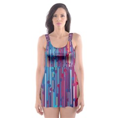 Vertical Behance Line Polka Dot Blue Green Purple Red Blue Black Skater Dress Swimsuit