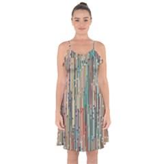 Vertical Behance Line Polka Dot Grey Blue Brown Ruffle Detail Chiffon Dress