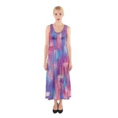 Vertical Behance Line Polka Dot Blue Green Purple Red Blue Small Sleeveless Maxi Dress