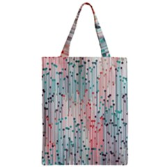 Vertical Behance Line Polka Dot Grey Pink Zipper Classic Tote Bag