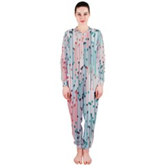 Vertical Behance Line Polka Dot Grey Pink OnePiece Jumpsuit (Ladies)