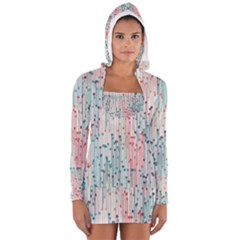 Vertical Behance Line Polka Dot Grey Pink Women s Long Sleeve Hooded T-shirt