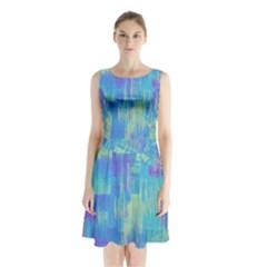 Vertical Behance Line Polka Dot Purple Green Blue Sleeveless Waist Tie Chiffon Dress