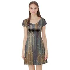 Vertical Behance Line Polka Dot Grey Orange Short Sleeve Skater Dress