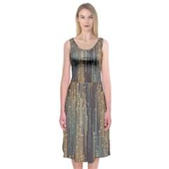 Vertical Behance Line Polka Dot Grey Orange Midi Sleeveless Dress
