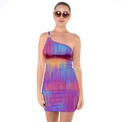 Vertical Behance Line Polka Dot Red Blue Orange One Soulder Bodycon Dress