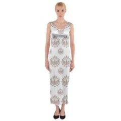 Dot Lotus Flower Flower Floral Fitted Maxi Dress