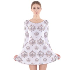 Dot Lotus Flower Flower Floral Long Sleeve Velvet Skater Dress