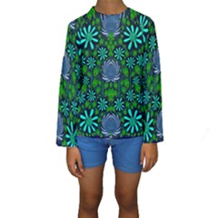Strawberry Fantasy Flowers In A Fantasy Landscape Kids  Long Sleeve Swimwear