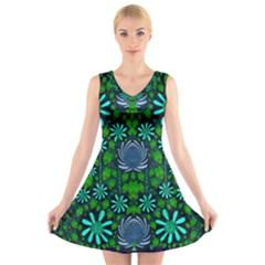 Strawberry Fantasy Flowers In A Fantasy Landscape V-Neck Sleeveless Skater Dress