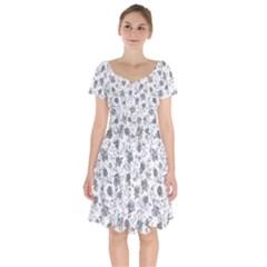 Floral Pattern Short Sleeve Bardot Dress