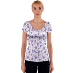 Floral pattern Women s V-Neck Cap Sleeve Top
