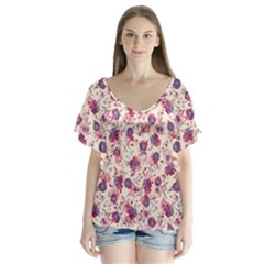 Floral pattern Flutter Sleeve Top
