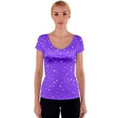 Dots pattern Women s V-Neck Cap Sleeve Top