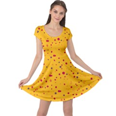 Dots pattern Cap Sleeve Dresses